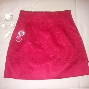 H&M | Satin Red Lace Skirt